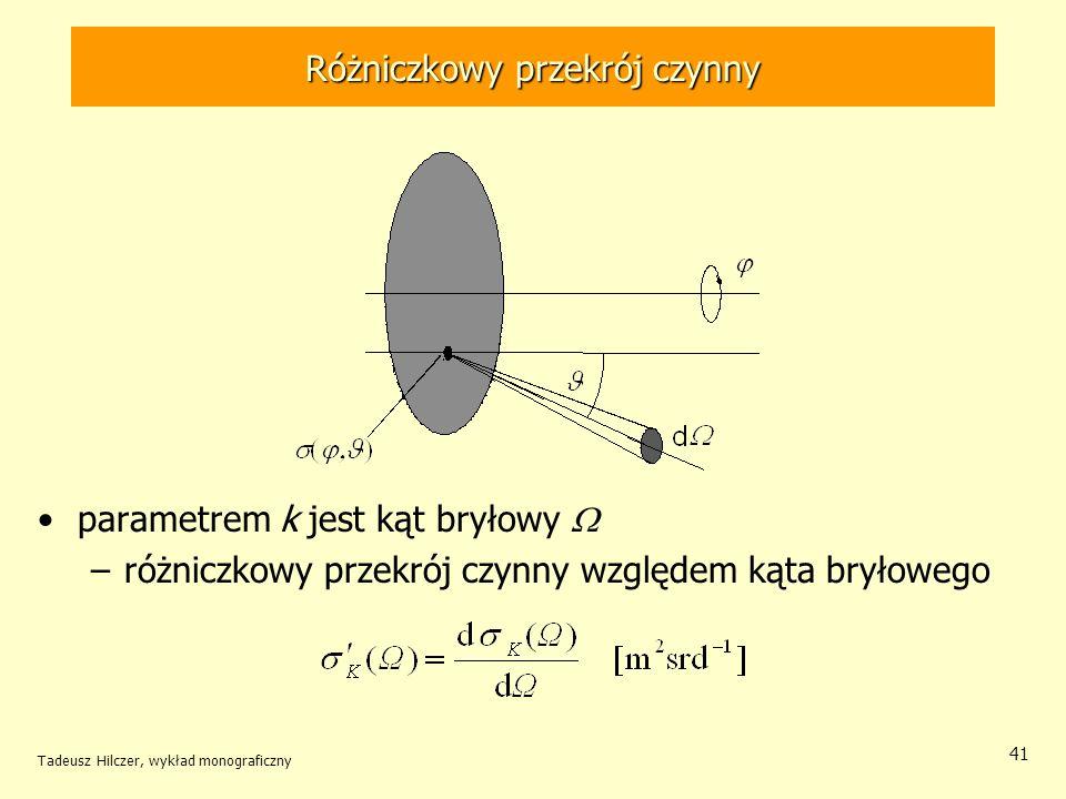 Różniczkowy przekrój czynny parametrem k jest kąt bryłowy –różniczkowy przekrój czynny względem kąta bryłowego Tadeusz Hilczer, wykład monograficzny 4