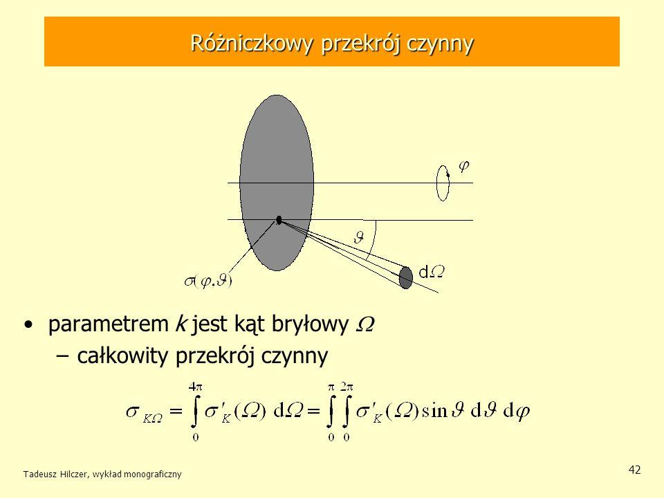 Różniczkowy przekrój czynny parametrem k jest kąt bryłowy –całkowity przekrój czynny Tadeusz Hilczer, wykład monograficzny 42