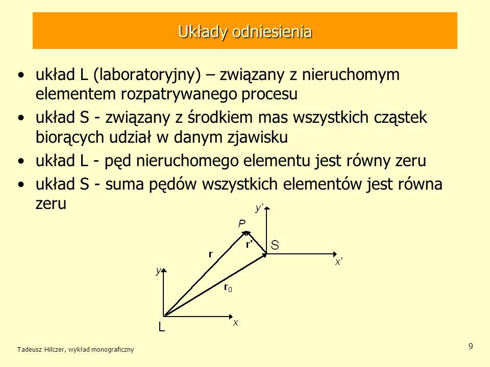 Układy odniesienia układ L (laboratoryjny) – związany z nieruchomym elementem rozpatrywanego procesu układ S - związany z środkiem mas wszystkich cząs