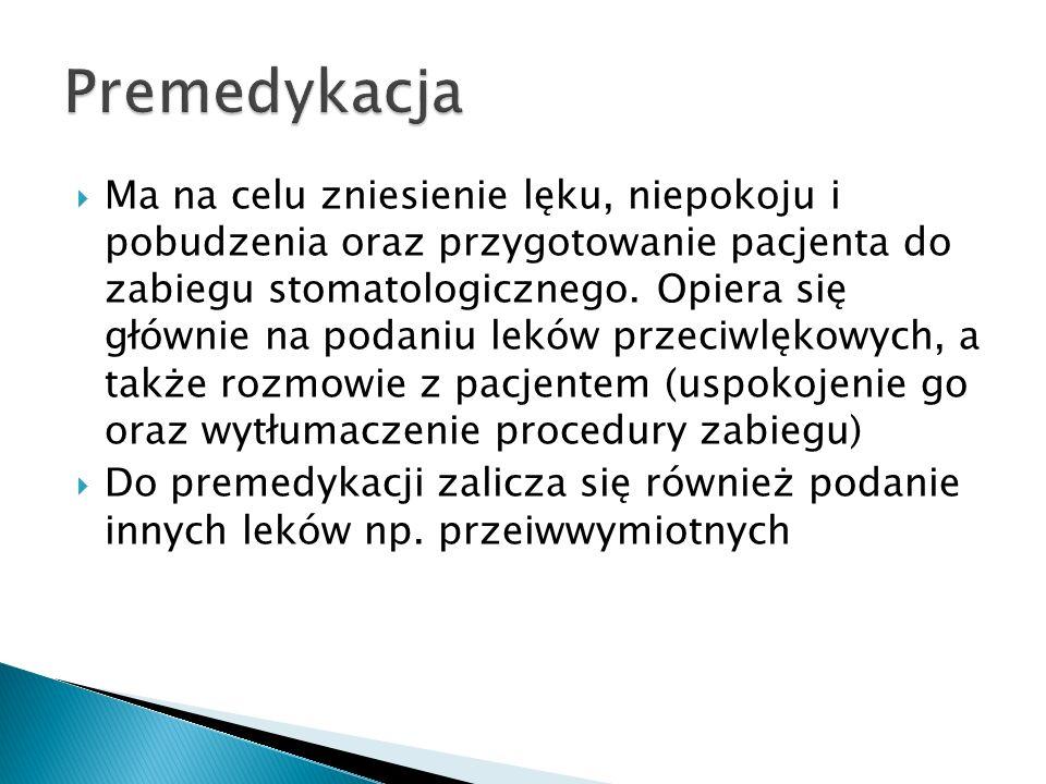 Narkotyki np. morfina Nasenne np. midazolam, diazepam Przeciwhistaminowe np. hydroksyzyna