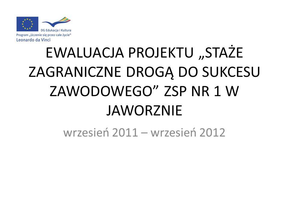 EWALUACJA PROJEKTU STAŻE ZAGRANICZNE DROGĄ DO SUKCESU ZAWODOWEGO ZSP NR 1 W JAWORZNIE wrzesień 2011 – wrzesień 2012