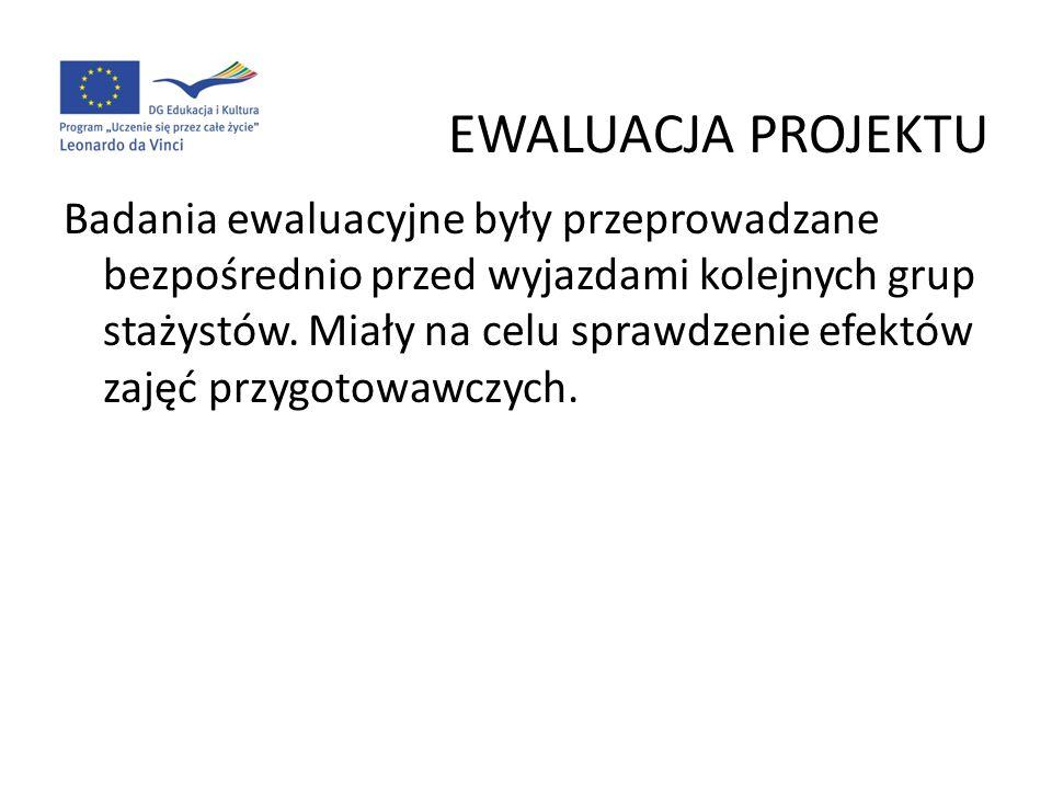 EWALUACJA PROJEKTU Badania ewaluacyjne były przeprowadzane bezpośrednio przed wyjazdami kolejnych grup stażystów. Miały na celu sprawdzenie efektów za