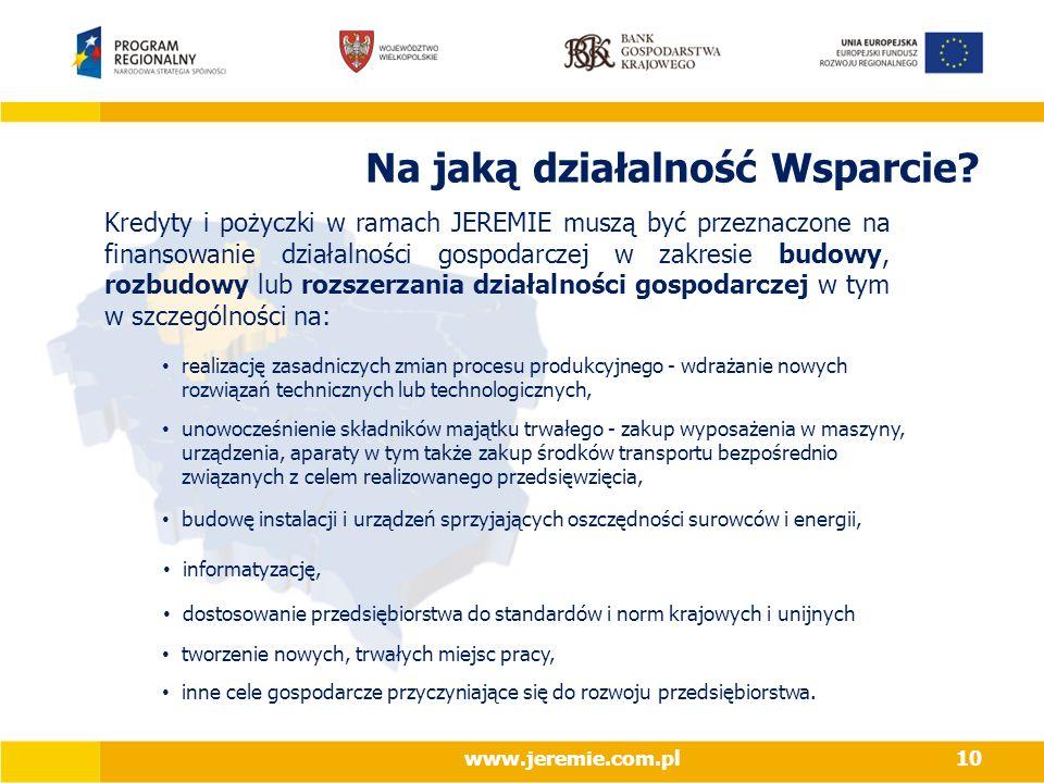 Na jaką działalność Wsparcie? informatyzację, tworzenie nowych, trwałych miejsc pracy, inne cele gospodarcze przyczyniające się do rozwoju przedsiębio