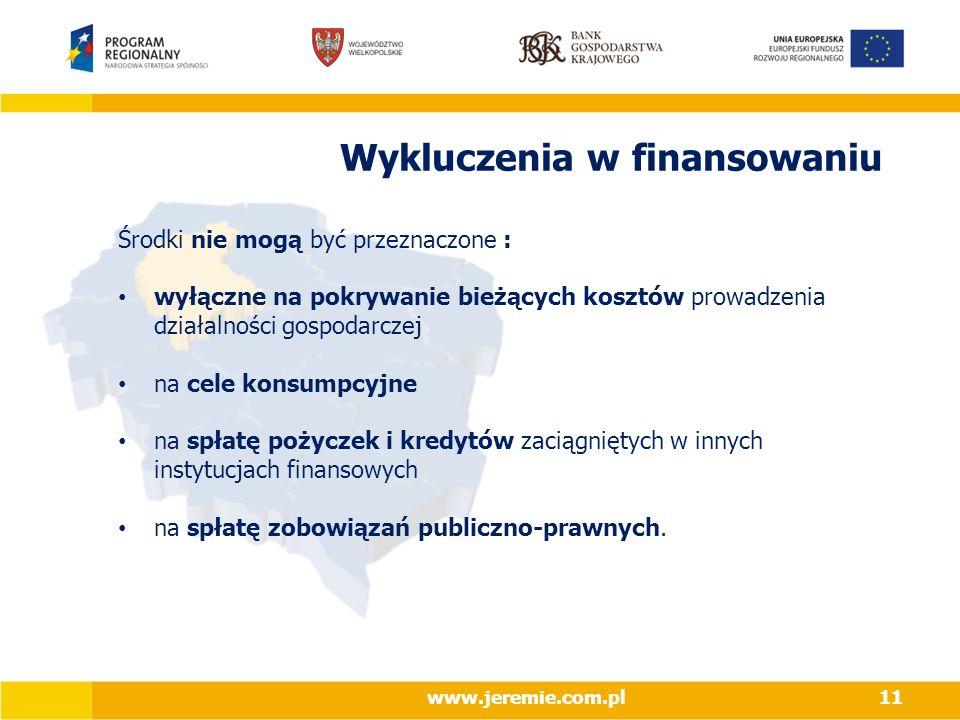 Wykluczenia w finansowaniu Środki nie mogą być przeznaczone : wyłączne na pokrywanie bieżących kosztów prowadzenia działalności gospodarczej na cele konsumpcyjne na spłatę pożyczek i kredytów zaciągniętych w innych instytucjach finansowych na spłatę zobowiązań publiczno-prawnych.