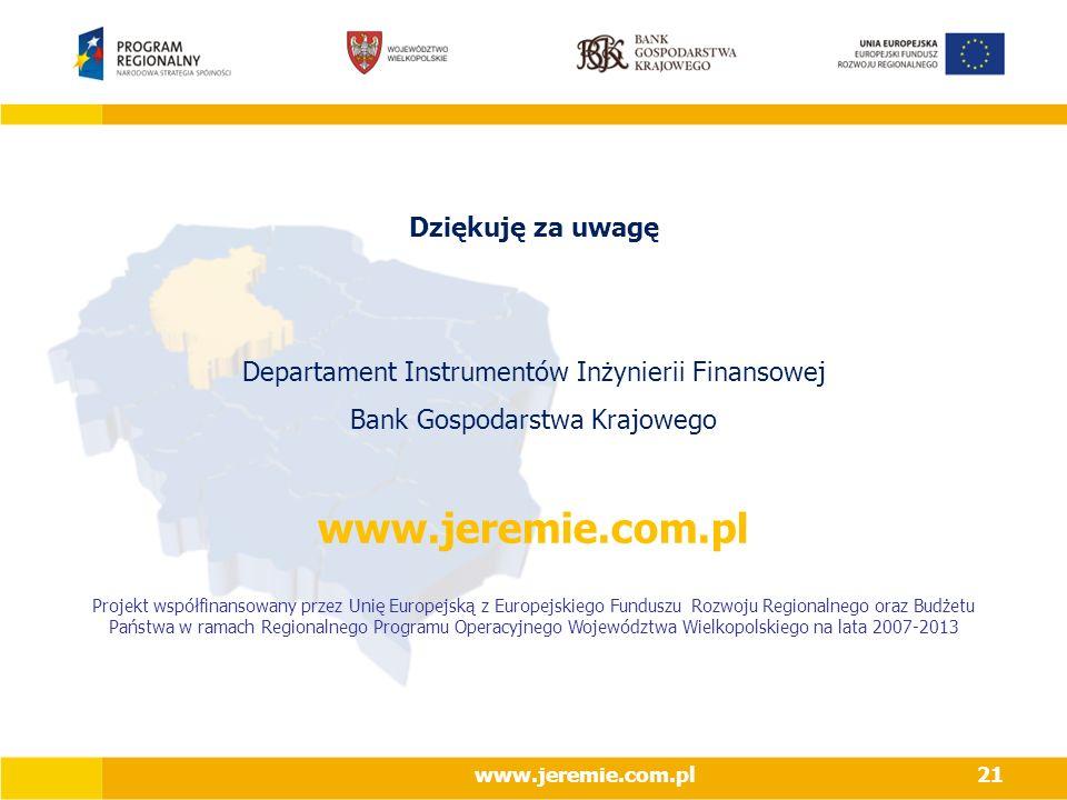 www.jeremie.com.pl21 Dziękuję za uwagę Departament Instrumentów Inżynierii Finansowej Bank Gospodarstwa Krajowego www.jeremie.com.pl Projekt współfinansowany przez Unię Europejską z Europejskiego Funduszu Rozwoju Regionalnego oraz Budżetu Państwa w ramach Regionalnego Programu Operacyjnego Województwa Wielkopolskiego na lata 2007-2013