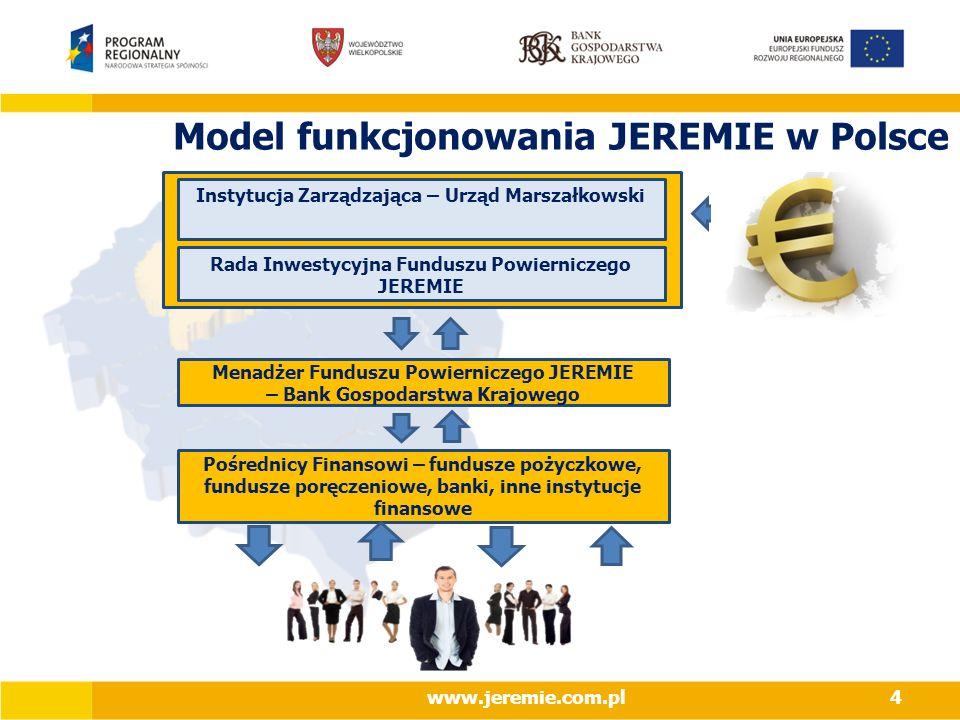Model funkcjonowania JEREMIE w Polsce Instytucja Zarządzająca – Urząd Marszałkowski Rada Inwestycyjna Funduszu Powierniczego JEREMIE Menadżer Funduszu Powierniczego JEREMIE – Bank Gospodarstwa Krajowego Pośrednicy Finansowi – fundusze pożyczkowe, fundusze poręczeniowe, banki, inne instytucje finansowe www.jeremie.com.pl4