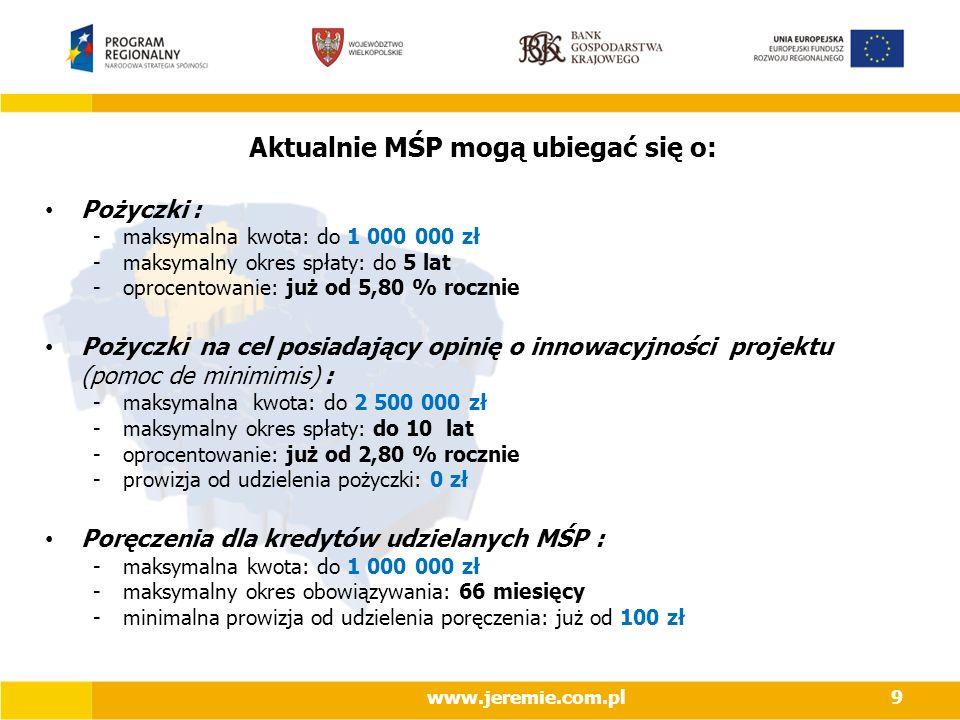 9 Aktualnie MŚP mogą ubiegać się o: Pożyczki : -maksymalna kwota: do 1 000 000 zł -maksymalny okres spłaty: do 5 lat -oprocentowanie: już od 5,80 % rocznie Pożyczki na cel posiadający opinię o innowacyjności projektu (pomoc de minimimis) : -maksymalna kwota: do 2 500 000 zł -maksymalny okres spłaty: do 10 lat -oprocentowanie: już od 2,80 % rocznie -prowizja od udzielenia pożyczki: 0 zł Poręczenia dla kredytów udzielanych MŚP : -maksymalna kwota: do 1 000 000 zł -maksymalny okres obowiązywania: 66 miesięcy -minimalna prowizja od udzielenia poręczenia: już od 100 zł