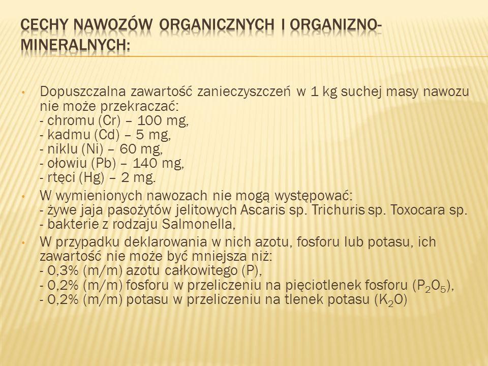 Dopuszczalna zawartość zanieczyszczeń w 1 kg suchej masy nawozu nie może przekraczać: - chromu (Cr) – 100 mg, - kadmu (Cd) – 5 mg, - niklu (Ni) – 60 m