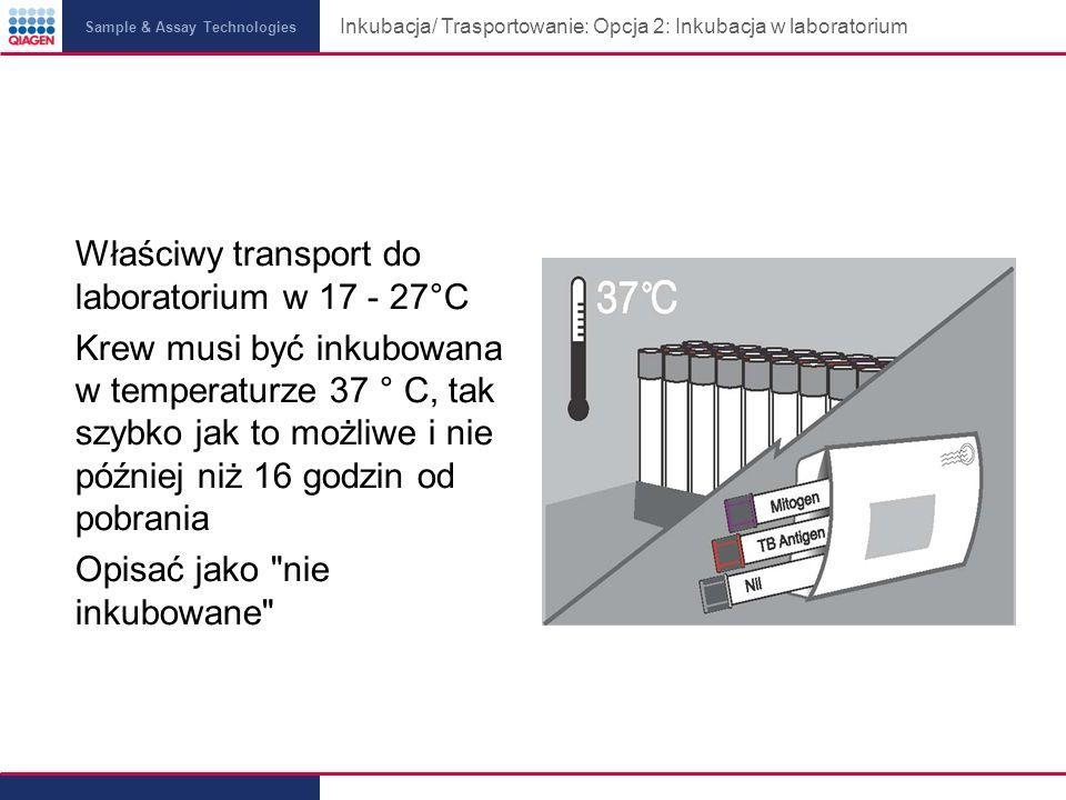 Sample & Assay Technologies Inkubacja/ Trasportowanie: Opcja 2: Inkubacja w laboratorium Właściwy transport do laboratorium w 17 - 27°C Krew musi być inkubowana w temperaturze 37 ° C, tak szybko jak to możliwe i nie później niż 16 godzin od pobrania Opisać jako nie inkubowane