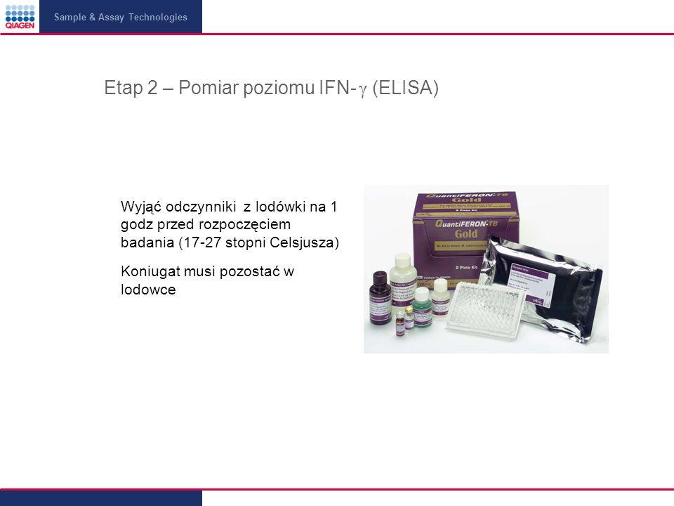 Sample & Assay Technologies Etap 2 – Pomiar poziomu IFN- γ (ELISA) Wyjąć odczynniki z lodówki na 1 godz przed rozpoczęciem badania (17-27 stopni Celsjusza) Koniugat musi pozostać w lodowce
