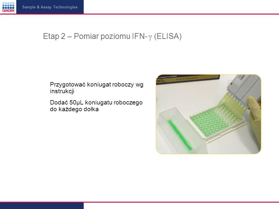 Sample & Assay Technologies Etap 2 – Pomiar poziomu IFN- γ (ELISA) Przygotować koniugat roboczy wg instrukcji Dodać 50μL koniugatu roboczego do każdego dołka