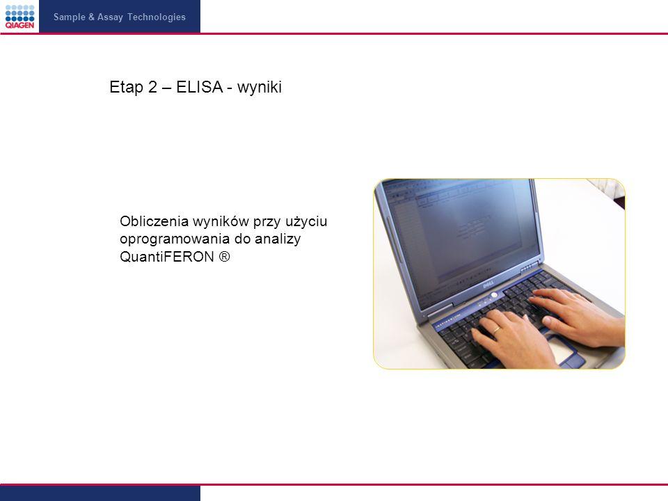 Sample & Assay Technologies Etap 2 – ELISA - wyniki Obliczenia wyników przy użyciu oprogramowania do analizy QuantiFERON ®