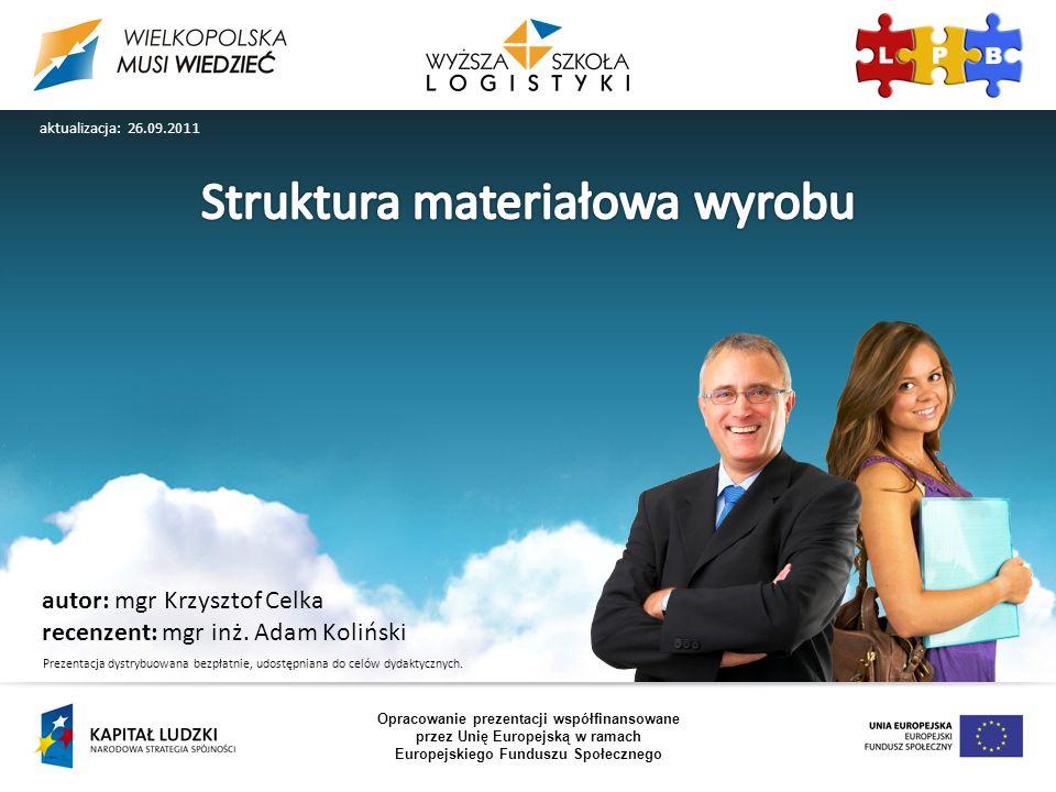 autor: mgr Krzysztof Celka recenzent: mgr inż. Adam Koliński Opracowanie prezentacji współfinansowane przez Unię Europejską w ramach Europejskiego Fun