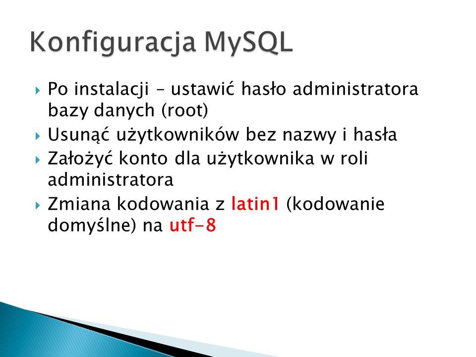Po instalacji – ustawić hasło administratora bazy danych (root) Usunąć użytkowników bez nazwy i hasła Założyć konto dla użytkownika w roli administrat