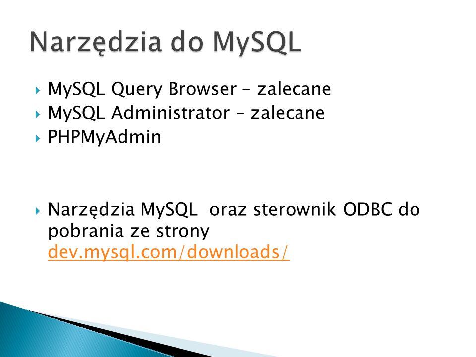 MySQL Query Browser – zalecane MySQL Administrator – zalecane PHPMyAdmin Narzędzia MySQL oraz sterownik ODBC do pobrania ze strony dev.mysql.com/downl