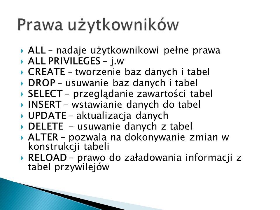 ALL – nadaje użytkownikowi pełne prawa ALL PRIVILEGES – j.w CREATE – tworzenie baz danych i tabel DROP – usuwanie baz danych i tabel SELECT – przegląd