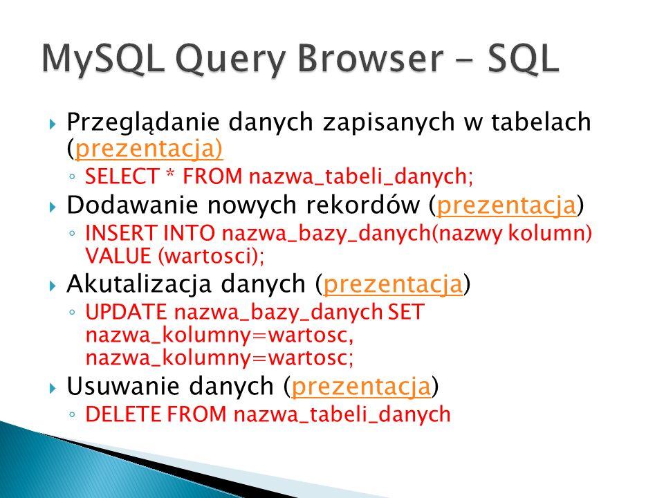 Przeglądanie danych zapisanych w tabelach (prezentacja)prezentacja) SELECT * FROM nazwa_tabeli_danych; Dodawanie nowych rekordów (prezentacja)prezenta