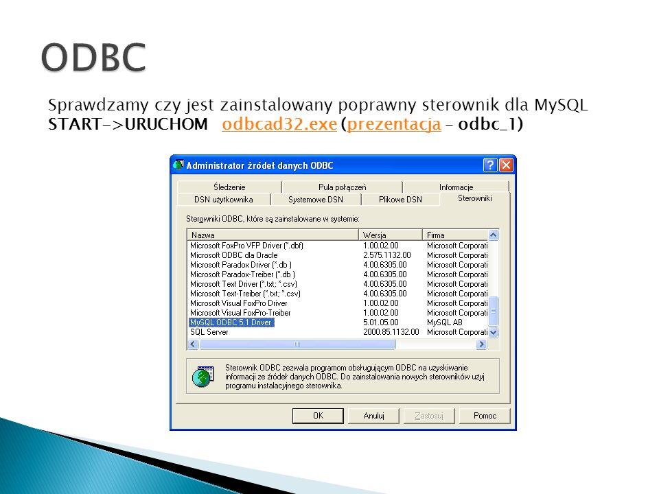 Sprawdzamy czy jest zainstalowany poprawny sterownik dla MySQL START->URUCHOM odbcad32.exe (prezentacja – odbc_1)odbcad32.exeprezentacja