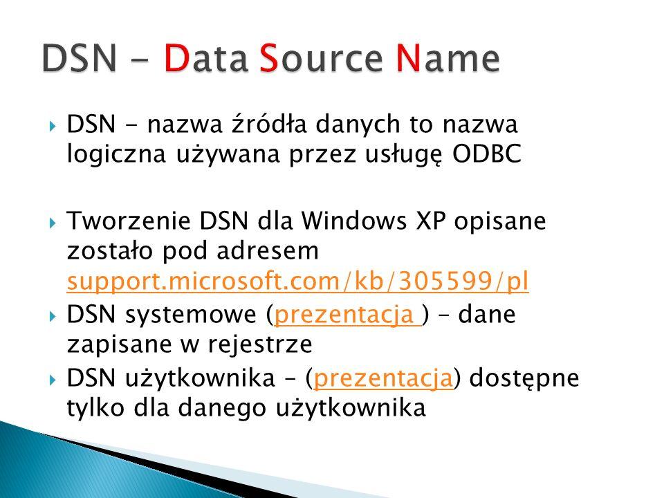 DSN - nazwa źródła danych to nazwa logiczna używana przez usługę ODBC Tworzenie DSN dla Windows XP opisane zostało pod adresem support.microsoft.com/k