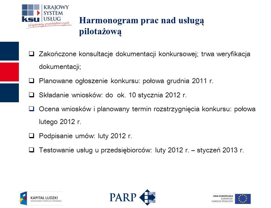 Harmonogram prac nad usługą pilotażową Zakończone konsultacje dokumentacji konkursowej; trwa weryfikacja dokumentacji; Planowane ogłoszenie konkursu: połowa grudnia 2011 r.