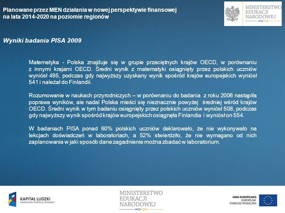Wyniki badania PISA 2009 Matematyka - Polska znajduje się w grupie przeciętnych krajów OECD, w porównaniu z innymi krajami OECD. Średni wynik z matema