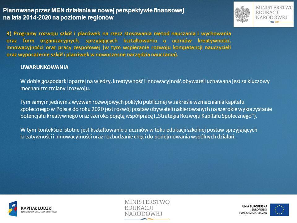 3) Programy rozwoju szkół i placówek na rzecz stosowania metod nauczania i wychowania oraz form organizacyjnych, sprzyjających kształtowaniu u uczniów