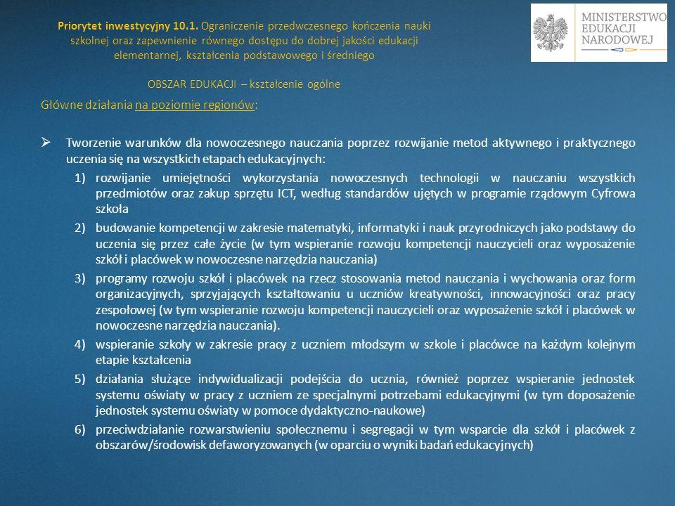 1) rozwijanie umiejętności wykorzystania nowoczesnych technologii w nauczaniu wszystkich przedmiotów oraz zakup sprzętu ICT, według standardów ujętych w programie rządowym Cyfrowa szkoła W latach 2005 – 2008, w ramach SPO RZL 2004 – 2006 realizowany był projekt Pracownie komputerowe dla szkół.