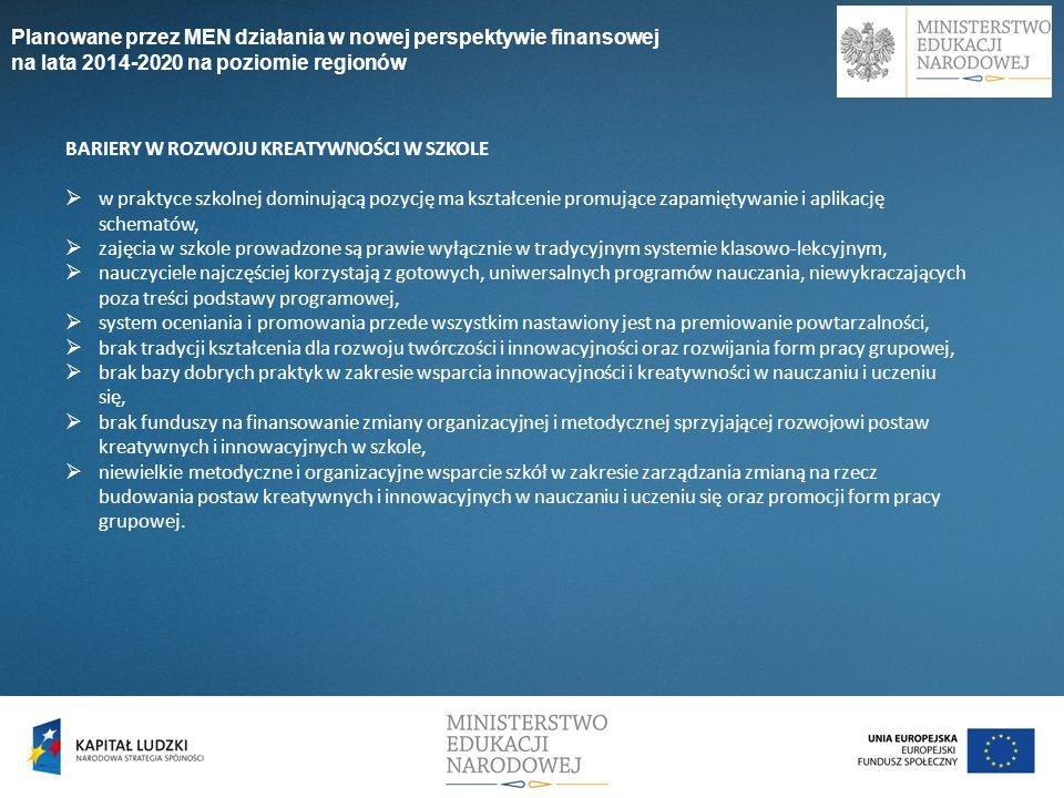 Planowane przez MEN działania w nowej perspektywie finansowej na lata 2014-2020 na poziomie regionów BARIERY W ROZWOJU KREATYWNOŚCI W SZKOLE w praktyc