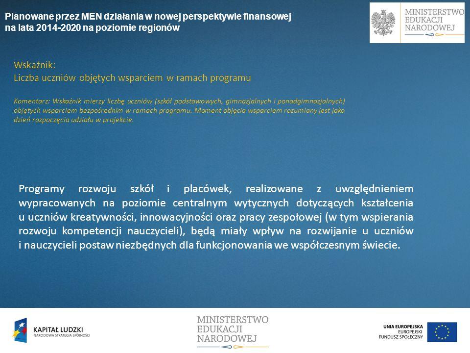 Planowane przez MEN działania w nowej perspektywie finansowej na lata 2014-2020 na poziomie regionów Programy rozwoju szkół i placówek, realizowane z