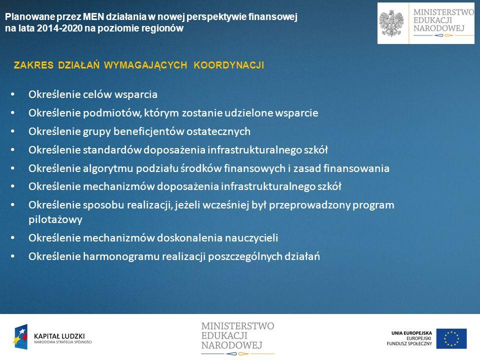 Planowane przez MEN działania w nowej perspektywie finansowej na lata 2014-2020 na poziomie regionów Określenie celów wsparcia Określenie podmiotów, k
