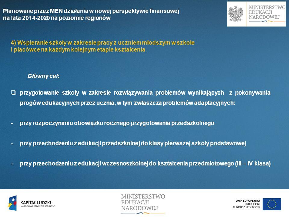 Główny cel: przygotowanie szkoły w zakresie rozwiązywania problemów wynikających z pokonywania progów edukacyjnych przez ucznia, w tym zwłaszcza probl