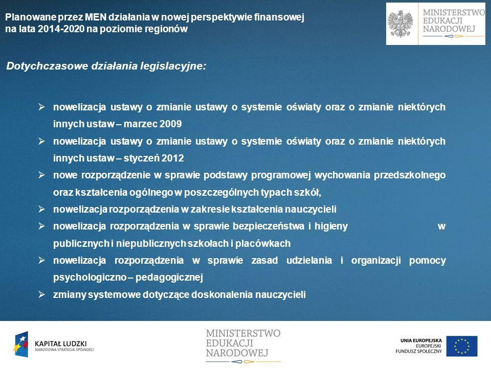 Dotychczasowe działania legislacyjne: nowelizacja ustawy o zmianie ustawy o systemie oświaty oraz o zmianie niektórych innych ustaw – marzec 2009 nowe