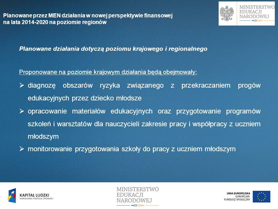 Planowane działania dotyczą poziomu krajowego i regionalnego Proponowane na poziomie krajowym działania będą obejmowały: diagnozę obszarów ryzyka zwią