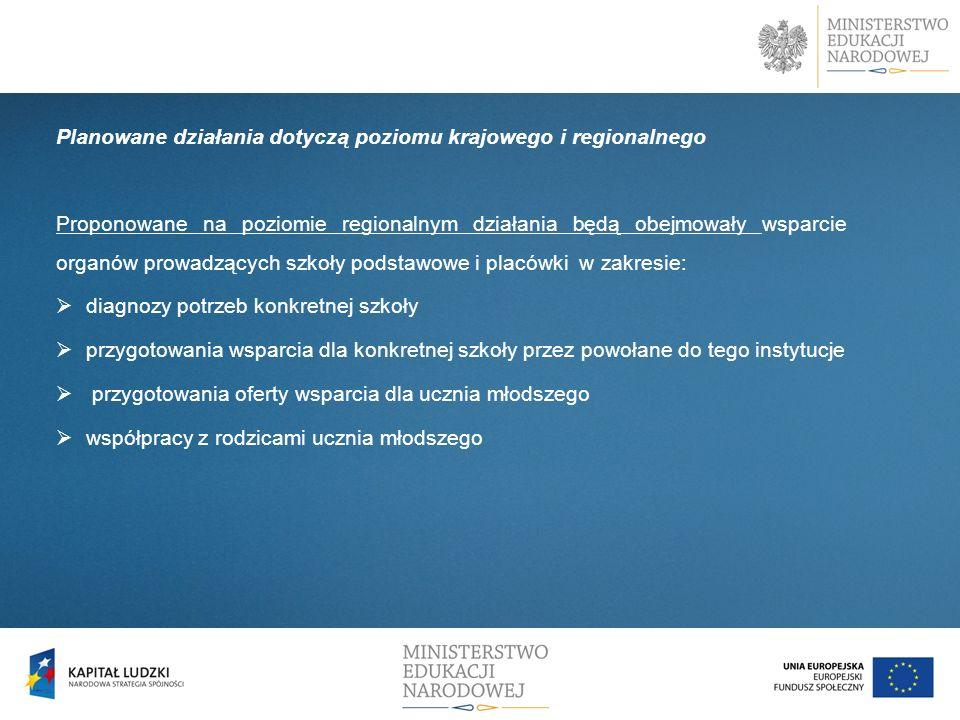 D Planowane działania dotyczą poziomu krajowego i regionalnego Proponowane na poziomie regionalnym działania będą obejmowały wsparcie organów prowadzą