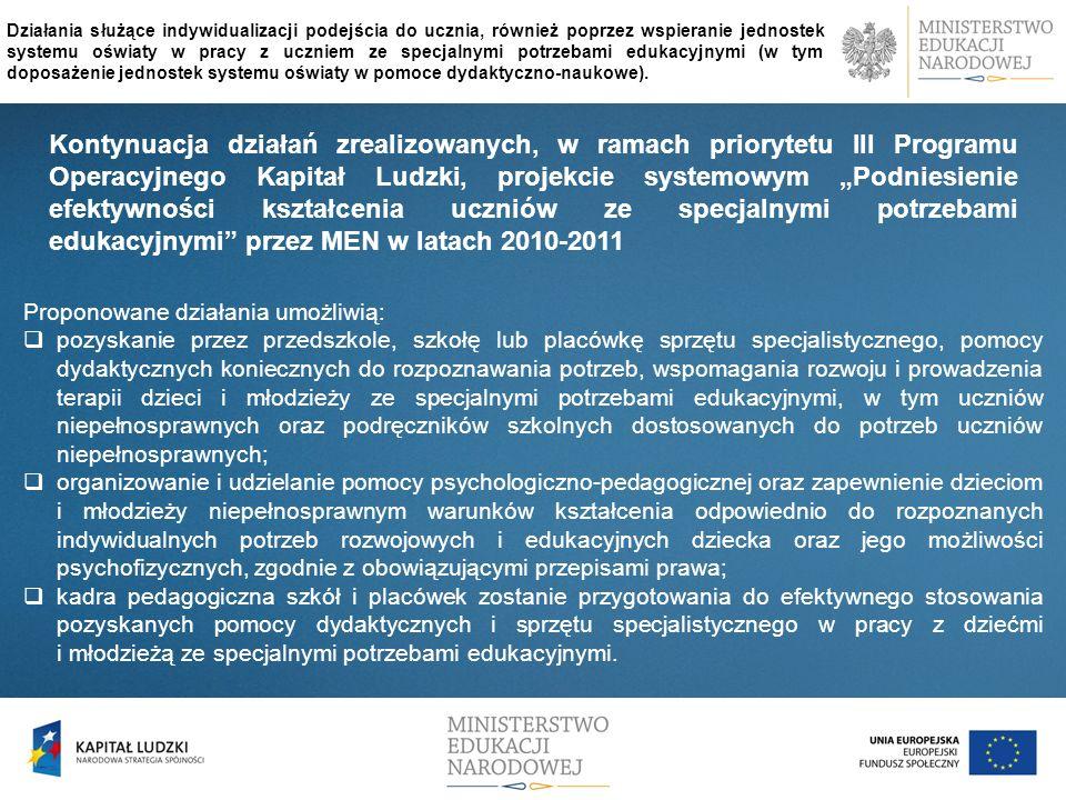 Kontynuacja działań zrealizowanych, w ramach priorytetu III Programu Operacyjnego Kapitał Ludzki, projekcie systemowym Podniesienie efektywności kszta