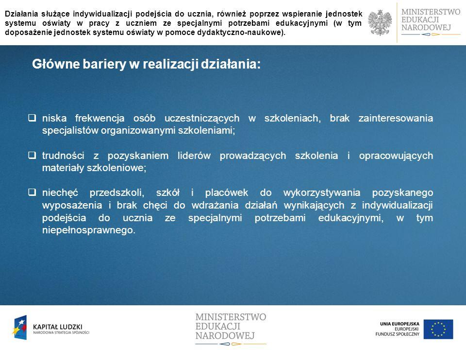 Główne bariery w realizacji działania: niska frekwencja osób uczestniczących w szkoleniach, brak zainteresowania specjalistów organizowanymi szkolenia
