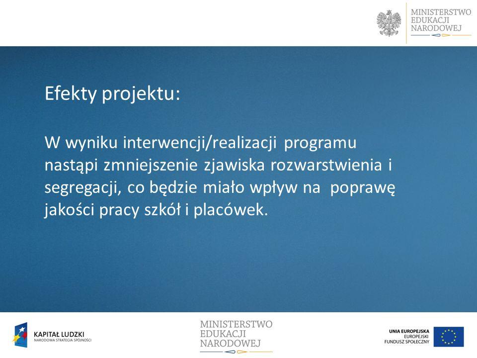 Efekty projektu: W wyniku interwencji/realizacji programu nastąpi zmniejszenie zjawiska rozwarstwienia i segregacji, co będzie miało wpływ na poprawę