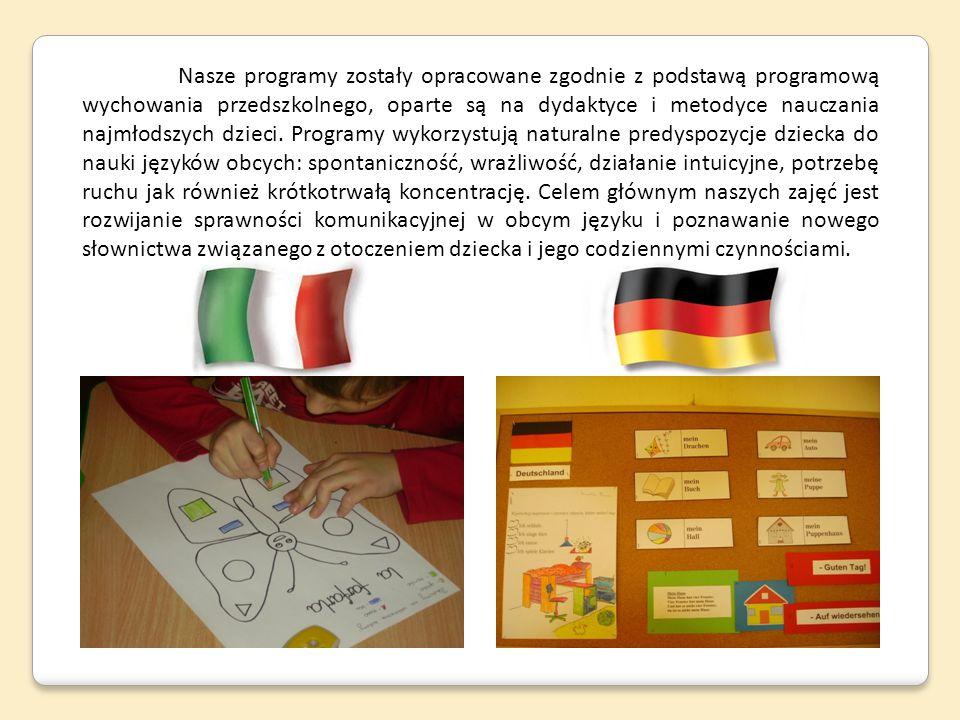 Nasze programy zostały opracowane zgodnie z podstawą programową wychowania przedszkolnego, oparte są na dydaktyce i metodyce nauczania najmłodszych dz