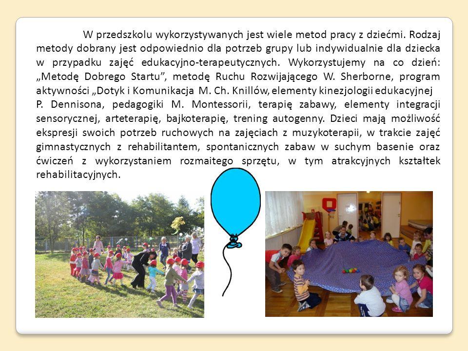 W przedszkolu wykorzystywanych jest wiele metod pracy z dziećmi. Rodzaj metody dobrany jest odpowiednio dla potrzeb grupy lub indywidualnie dla dzieck