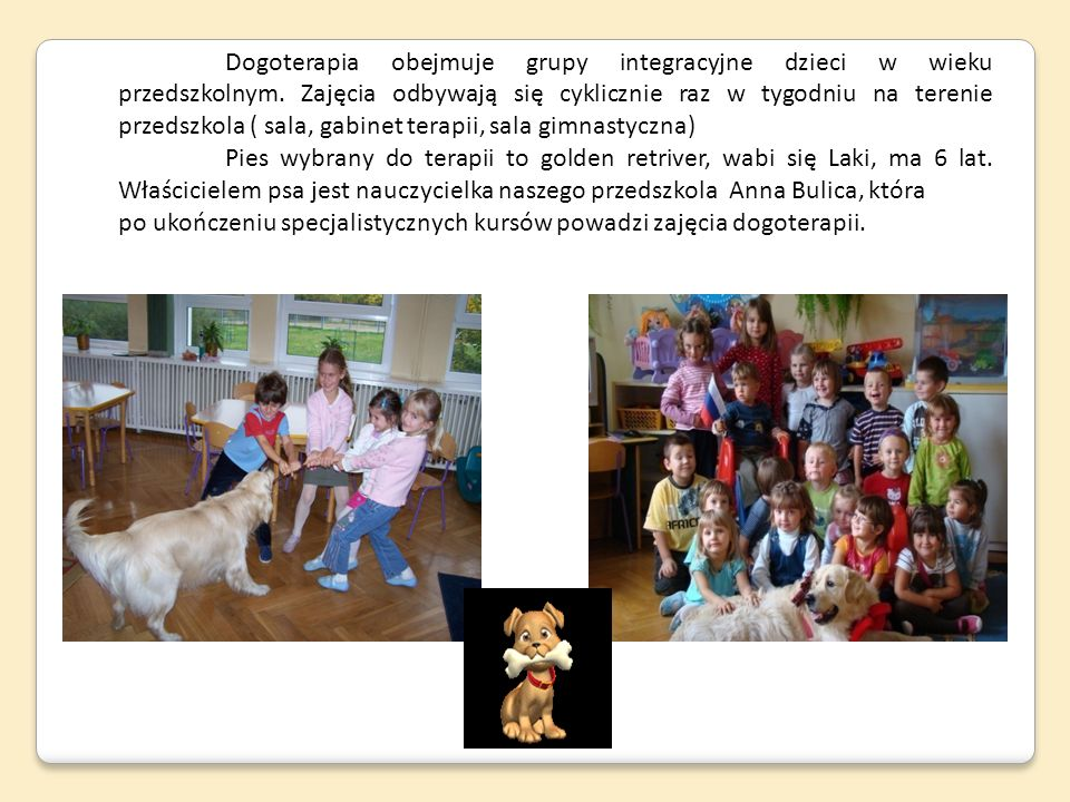Dogoterapia obejmuje grupy integracyjne dzieci w wieku przedszkolnym. Zajęcia odbywają się cyklicznie raz w tygodniu na terenie przedszkola ( sala, ga