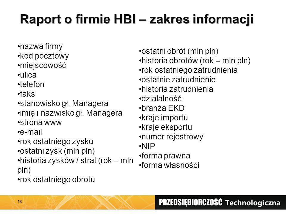 Raport o firmie HBI – zakres informacji 18 nazwa firmy kod pocztowy miejscowość ulica telefon faks stanowisko gł. Managera imię i nazwisko gł. Manager