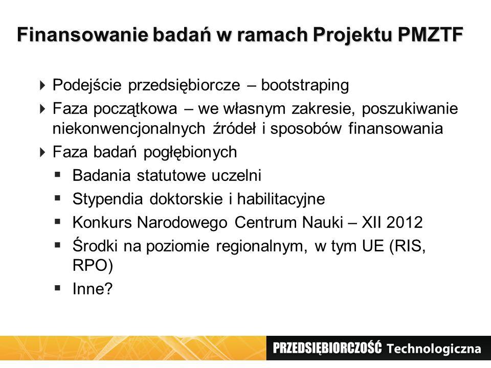 Finansowanie badań w ramach Projektu PMZTF Finansowanie badań w ramach Projektu PMZTF Podejście przedsiębiorcze – bootstraping Faza początkowa – we wł