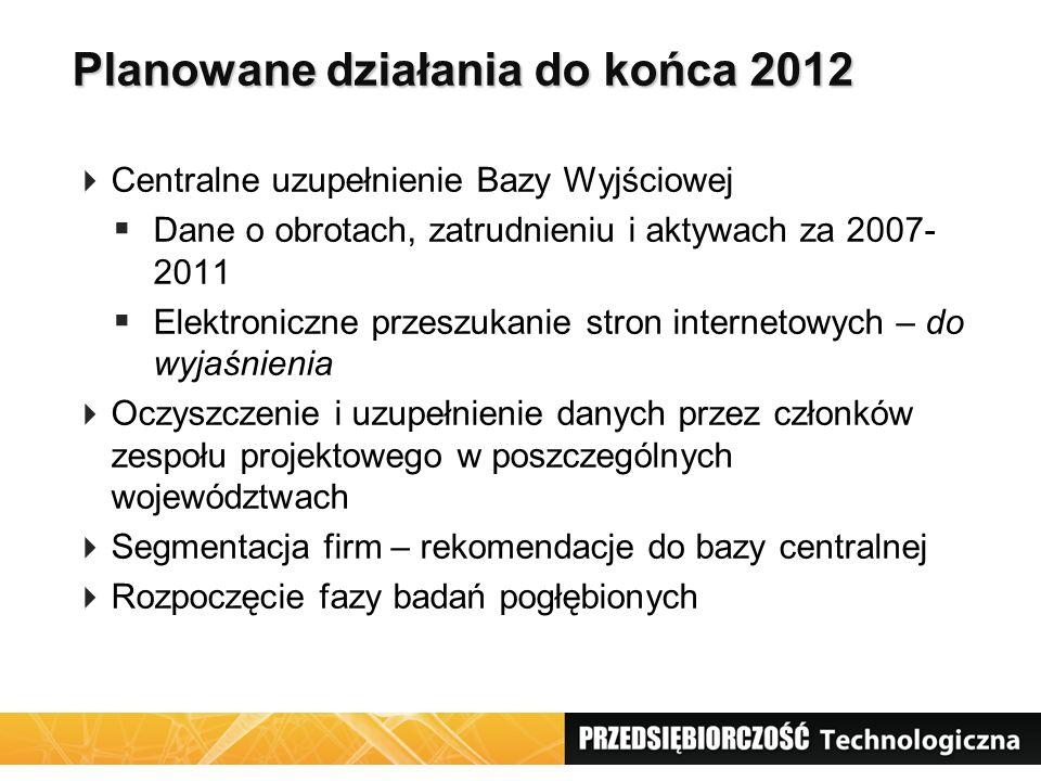 Planowane działania do końca 2012 Centralne uzupełnienie Bazy Wyjściowej Dane o obrotach, zatrudnieniu i aktywach za 2007- 2011 Elektroniczne przeszuk
