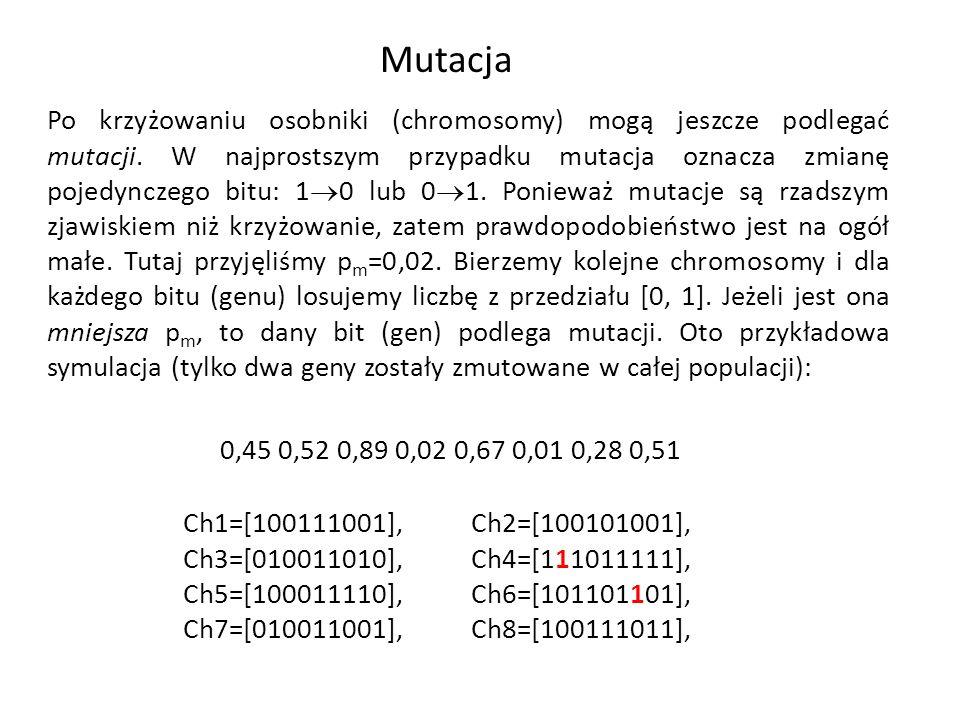 Mutacja Po krzyżowaniu osobniki (chromosomy) mogą jeszcze podlegać mutacji. W najprostszym przypadku mutacja oznacza zmianę pojedynczego bitu: 1 0 lub