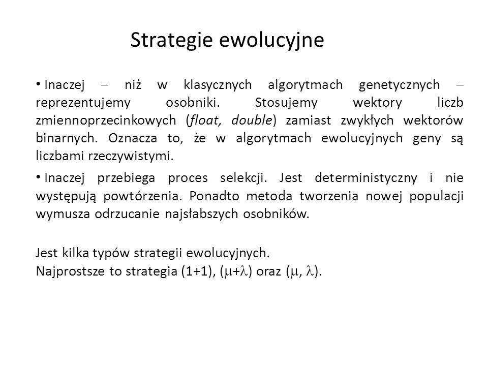 Strategie ewolucyjne Inaczej niż w klasycznych algorytmach genetycznych reprezentujemy osobniki. Stosujemy wektory liczb zmiennoprzecinkowych (float,