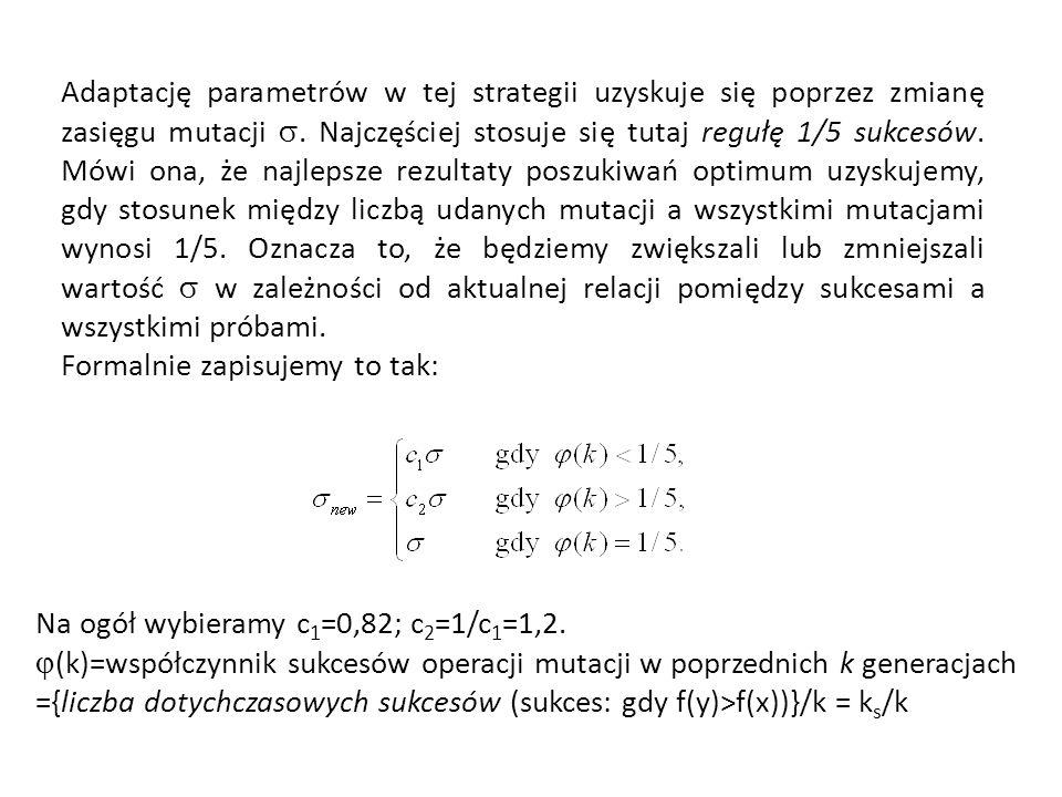 Adaptację parametrów w tej strategii uzyskuje się poprzez zmianę zasięgu mutacji. Najczęściej stosuje się tutaj regułę 1/5 sukcesów. Mówi ona, że najl