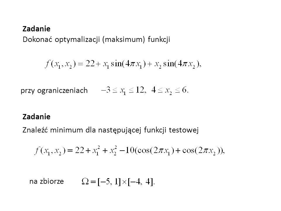 Zadanie Dokonać optymalizacji (maksimum) funkcji przy ograniczeniach Zadanie Znaleźć minimum dla następującej funkcji testowej na zbiorze
