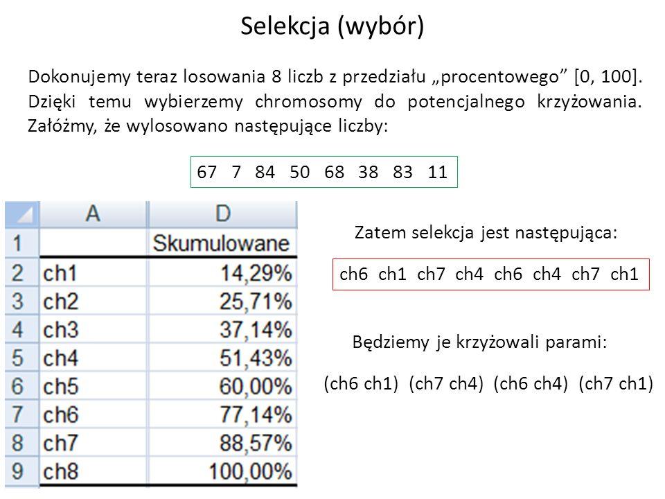 Dokonujemy teraz losowania 8 liczb z przedziału procentowego [0, 100]. Dzięki temu wybierzemy chromosomy do potencjalnego krzyżowania. Załóżmy, że wyl