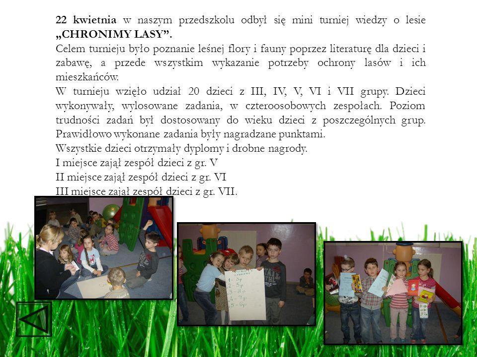 22 kwietnia w naszym przedszkolu odbył się mini turniej wiedzy o lesie CHRONIMY LASY. Celem turnieju było poznanie leśnej flory i fauny poprzez litera