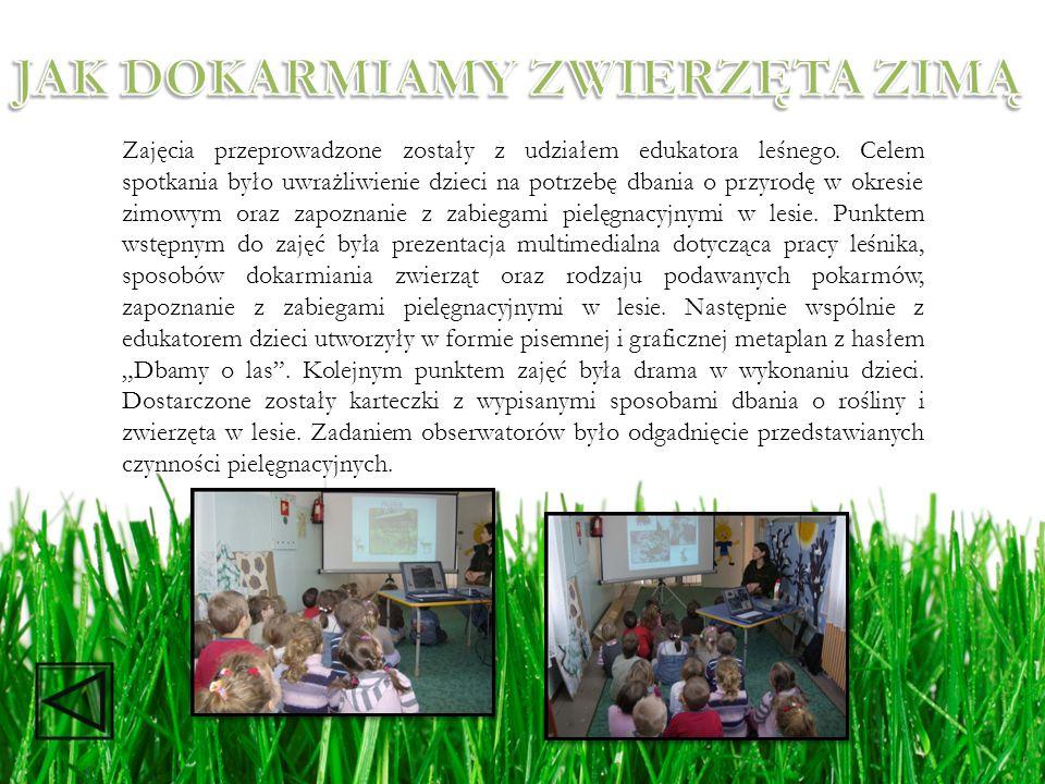 Zajęcia przeprowadzone zostały z udziałem edukatora leśnego. Celem spotkania było uwrażliwienie dzieci na potrzebę dbania o przyrodę w okresie zimowym